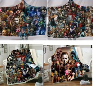 Hooded/NO Hooded Horror Movie Blanket Fleece Sherpa Throw Cloak Wearable Blanket