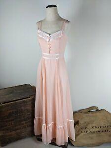 Vintage 70's Gunne Sax swiss dot corset dress, flowy bridal romantic