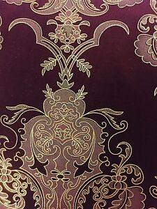 Burgundy Gold Jacquard Flocking Velvet Drapery Upholstery Fabric - BTY