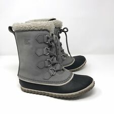 Sorel Womens Size 8.5 Caribou Slim Snow Boots Gray Waterproof Faux Fur Insulated