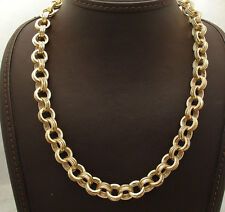 18 Textured Triple Interlocked Rolo Link Chain Necklace Real 14K Yellow Gold QVC