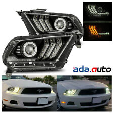For 2010-2012 Ford Mustang  LED Switchback Sequential Projector Black Headlights