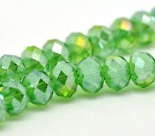 1 STRAND (72) GREEN AB CRYSTAL FACETED RONDELLE BEADS ~8mm~ Bracelets   (44A) UK