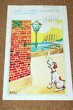 Vintage Postcard: Dog Looking Puzzled at Lamp Post, Comic, Artist Dudley