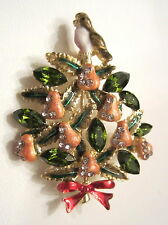 **   A PARTRIDGE IN A PEAR TREE  CHRISTMAS TREE BROOCH PIN  **