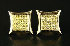 Mens/Ladies Canary On Yellow 9 Mm Diamond Stud Earrings