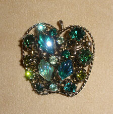 "Beautiful Rhinestone Apple Pin in Greens w/ Molded Art Glass by ""Star"" Jewelry"