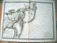 1824 CARTA GEOGRAFICA SIBERIA ISOLE ALEUTINE KAMCHATKA ALASKA.EDIZIONE ARTARIA
