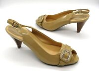 COLE HAAN Size 8 Beige Tan Patent Leather Peep Toe Slingback High Heel Shoes
