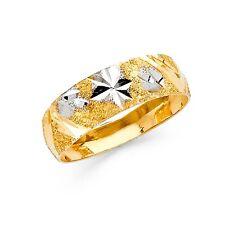 14k Yellow White Gold Wedding Band Tapered Ring Diamond Cut Milgrain Solid 6 mm