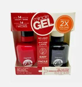 Sally Hansen Miracle Gel Red Eye Color & Top Coat Nail Polish Duo Set Kit 501