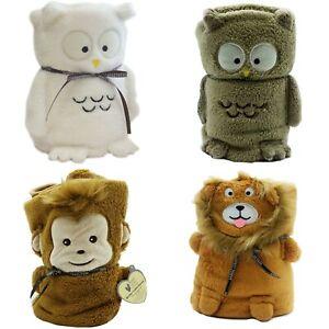 Kids Cuddle Soft Fleece Snuggle Blanket Character Monkey Lion Owl Christmas Gift
