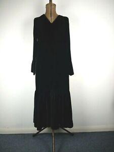 Modern Rarity Long Dress UK 10 Black Velvet P TO P 52 L121