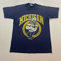 Vintage 80s Michigan Wolverines T-Shirt Size S Blue Jerzees Made In Usa Ncaa