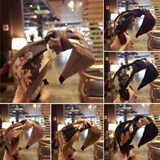Women's Floral Headband Makeup Retro Knot Turban Girl Cross Twist  Hair Hoop