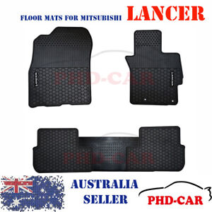 Mitsubishi Lancer Tailored Self-Design All Weather Rubber Car Floor Mats WhiLogo