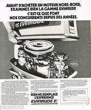 PUBLICITE ADVERTISING 065 1976  EVINRUDE  moteur de bateau hors-bord