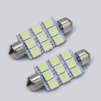 2Pcs 42mm Dome White 9 5050 SMD LED Car Interior Festoon Bulb Light 12V Lamps