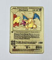 Charizard BASE SET 1st edition Shadowless GOLD Metal CUSTOM Pokemon Card