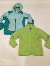 Ll Bean Kids Wildcat 3-in-1 Parka Jacket Lime Fuzzy Fleece Hood Girls Sz L 14-16