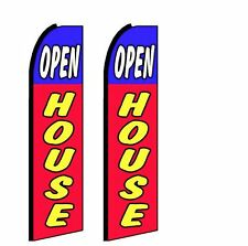 2X-Feather Swooper Flutter Banner Sign Flags 11.5 ft - OPEN HOUSE