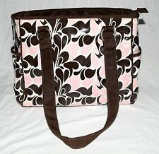 Pretty Baby Pink & Brown Vinyl & Cloth Trim Diaper Shoulder Tote Bag Pink Lining