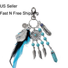 Dream Catcher Keychain Rhinestone Crystal Key Ring Chain Bag Charm Pendant Green