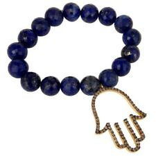18k Gold Plated Silver Hand Design Diamond & Lapis Charms Bracelet Jewelry