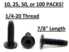 "10/25/50/100 Pack! SOCKET JOINT CONNECTOR BOLT 1/4-20 X 7/8"" BLACK FLAT HEAD NC"