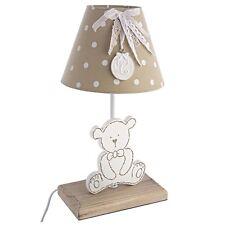 Lampada da comodino in legno design teddy con paralume, fiocco e medaglietta