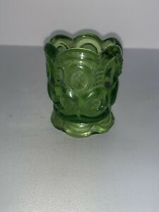 Vintage L. E. SMITH Moon And Stars GREEN Glass Votive Toothpick Holder