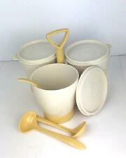 Retro Tupperware Tan Almond Trio Condiment  Caddie  #758 Lids Bowls Spoons Set
