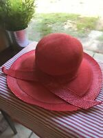 Red Summer Women's hat With Ribbon