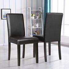 Set of 2 Kitchen Dinette Dining Room Chair Elegant Design Black Leather Backrest