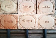 6x Kräuterschilder Terracotta Oregano Portulak Petersilie Estragon Dill