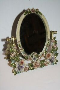 "Fantastic Enameled Mirror Heavy 8""x7"" Butterflys and Flowers"