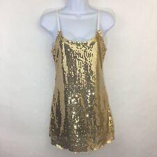 Free People Intimately Gold Sequin Slip Dress Tank Top Mesh Sheer XS Boho