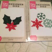 Christmas Echo Park Designer Dies Lot Of 2 ❄️Snowflakes & Floral Holly