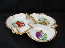 Antique Boisbertrand & Dorat Limoges Handled Dish 3 Sections Fruits Gold Trim