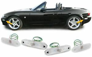 WHITE crystal side turn signal indicator lights for MAZDA MX5 89-05