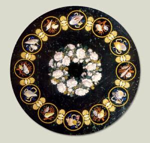 Black Marble Coffee Table Top Pietradura Gemstones Inlay Floral Home Decor H2055