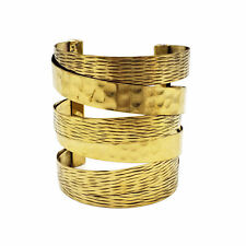 Boho Chic Brass Metal Cuff Bracelet Hammered Accent (Gold)