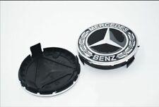 4x 75mm Genuine Mercedes Benz Wheel Center Hub Cap Rim Caps Emblem Black