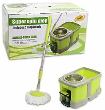 Super Spin 360° Mop Wheeled Bucket 2 Mop Heads Stainless Steel Plate 4WD Rd Drag