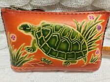 "HAND MADE EMBOSSED GENUINE LEATHER TURTLE COIN PURSE/WRISTLET/POUCH(2.75""X4.25"")"