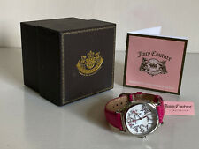 JUICY COUTURE SWAROVSKI CRYSTALS PINK SNAKE EMBOSSED LEATHER STRAP WATCH $195