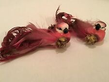SET OF 2 FANCY TAILED ARTIFICIAL BIRDS! 4 INCHES LONG SO CUTE!