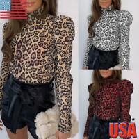 US Women Puff Sleeve Leopard Print T-Shirt Ladies High Neck Slim Fit Blouse Tops