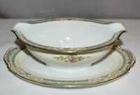 Noritake, Made in Occupied Japan, Gravy Boat with Attached Underplate, Roses