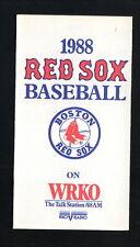 Boston Red Sox--1988 Pocket Schedule--WRKO/Star Market